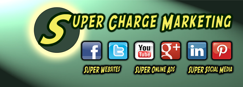 Super Charge Marketing Blog Header with logo